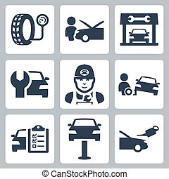 vektor, sätta, service, ikonen, station, fordon