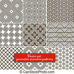 vektor, set:, 9, geometrisk, patterns., seamless