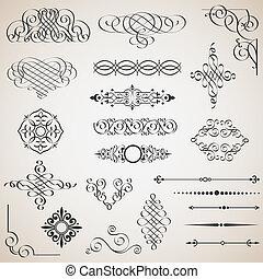 vektor, set formge, elementara, calligraphic
