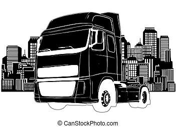 vektor, släpvagn, design, slagen, konst, lastbil, illustration