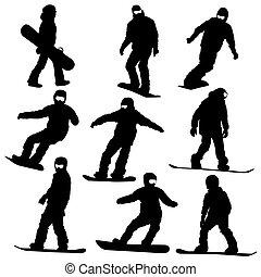 vektor, snowboarders, sätta, silhouettes., illustration.