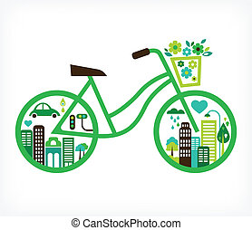 vektor, stad, -, cykel, grön