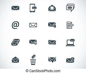 vektor, svart, email, sätta, ikonen