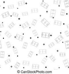 vektor, svart, fält, mönster, ikon, isolerat, vit, fotboll, eller, seamless, fotboll, illustration, bakgrund.