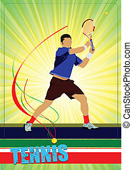 vektor, tennis, player., färgad, man