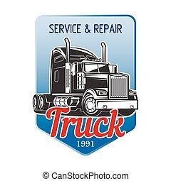 vektor, transport, logo, design., lastbil