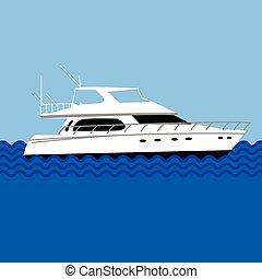 vektor, yacht, eller, hav, ocean