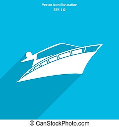 vektor, yacht, ikon