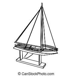 vektor, yacht, illustration.