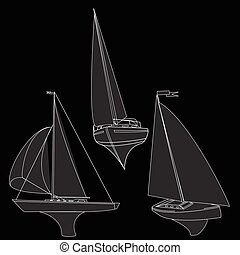 vektor, yacht, illustration