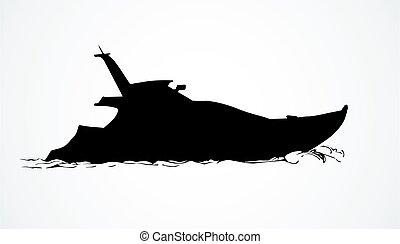 vektor, yacht., teckning