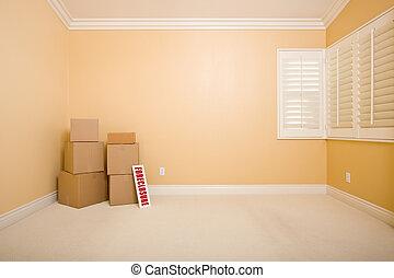 verklig, avskrift, utmätning, egendom, utrymme, golv, underteckna, rutor, gripande, tom, wall., tömma rum