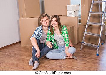 verklig, begrepp, egendom, folk, par, -, yrka hemma, stående, nytt hem, lycklig