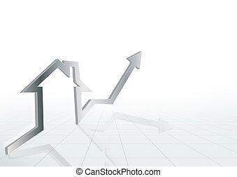 verkligt gods, hus, kartlägga, mot, marknaden