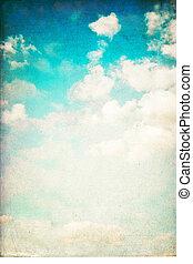 vertikal, årgång, sky, isolerat, white., bakgrund
