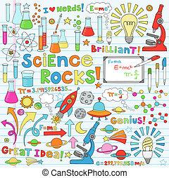 vetenskap, vektor, illustration, doodles