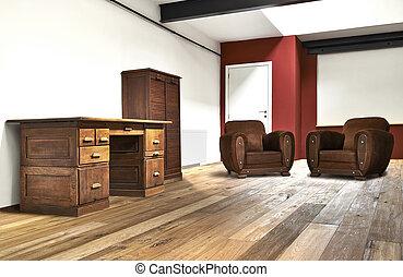 vid, kontor, golv, trä, loft, inre