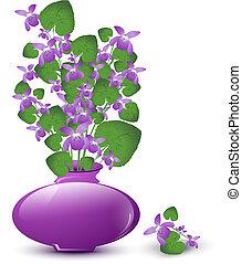 vild, bukett, violett