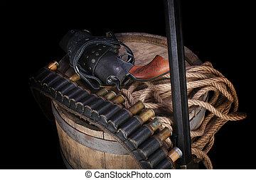 vild, gunbelt, gammal, filmrullar, gevär, väst