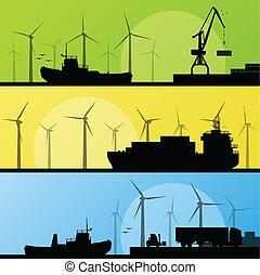 vindmotorer, elektricitet, affisch, lin, ocean, hamn, generatorer, hav, linda