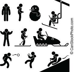 vinter aktivitet, chairlift, skidåkning