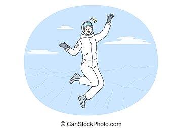 vinter aktiviteter, begrepp, skidåkning, snowboarding