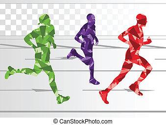 vinter, färgrik, silhouettes, gångmatta, bakgrund, maraton