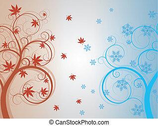 vinter, höst, träd