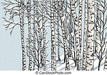 vinter, lund, björk