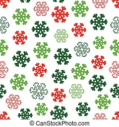 vinter, mönster, vektor, snöflingor, seamless