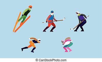 vinter, sätta, folk, sport, ytterlighet, öva