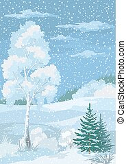 vinter, skog, landskap, jul