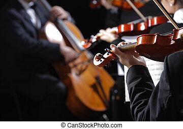 violinister, music., konsert, klassisk