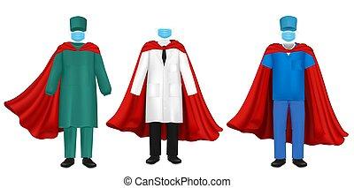 virus, korona, hjälte, sätta, illustration, lägenhet, läkare, pandemi, vektor, toppen