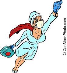 virus, vaccin, sköta, hjälte, mot, flygning, toppen