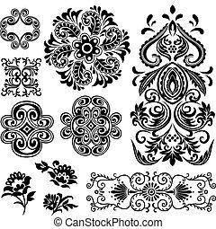 virvla runt, blom formgivning, inbillning, mönster