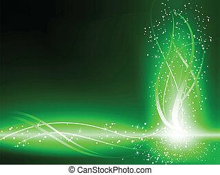 virvlar, grön fond, stjärnor