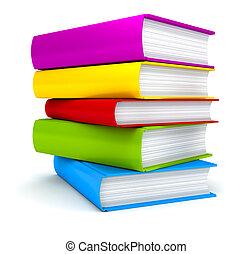 vit, böcker, stack, bakgrund