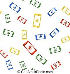 vit, bakgrund., seamless, ikon, mönster, alarm., färg, vektor, isolerat, hjälp, varning, ringa, nödläge, sos, 911
