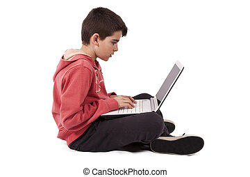 vit, dator, isolerat, barn