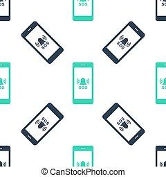 vit, ikon, isolerat, grön, alarm., varning, seamless, nödläge, mönster, 911, vektor, sos, hjälp, ringa, bakgrund.