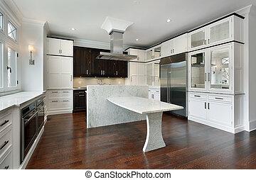 vit, nymodig, cabinetry, kök