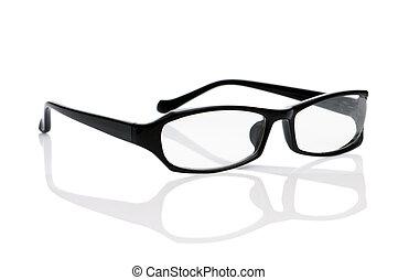 vit, optisk, isolerat, glasögon, läsning