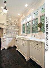 vit, samtidig, cabinetry, kök
