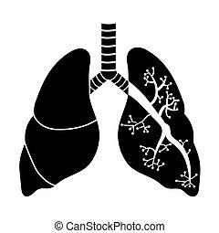 vit, svart, lungan