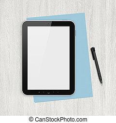 vit, tom, digital tablet, skrivbord