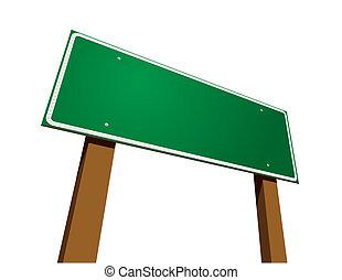 vit, tom, grön, vägmärke