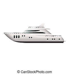 vit, vektor, yacht, isolerat