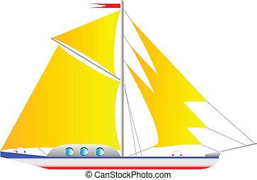 vit, yacht, isolerat