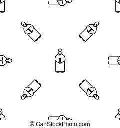 vita fodra, illustration, bakgrund., vektor, ikon, munk, isolerat, mönster, grå, seamless